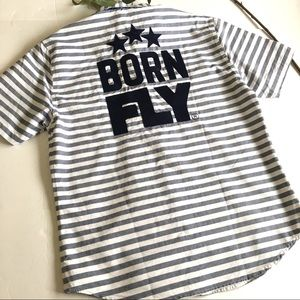 Born Fly Mens Button Up Shirt Size Large N…